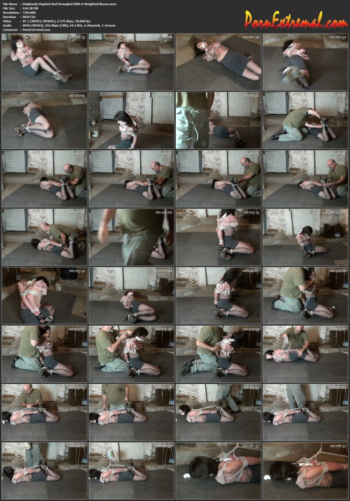 HuntersHorror - Helplessly Hogtied And Strangled With A Weighted Noose