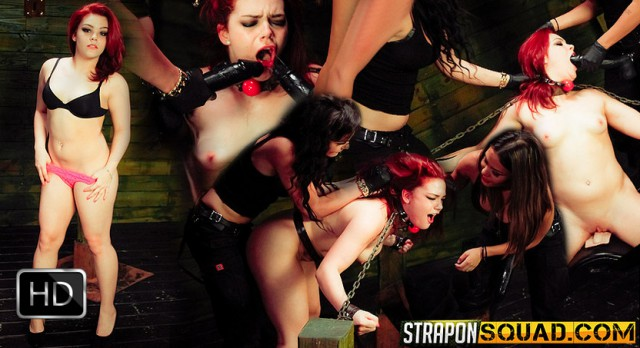 StrapOnSquad [FetishNetwork] – Brooklyn Daniels and Mena Li Train Kimber Woods to be a Sex Slave