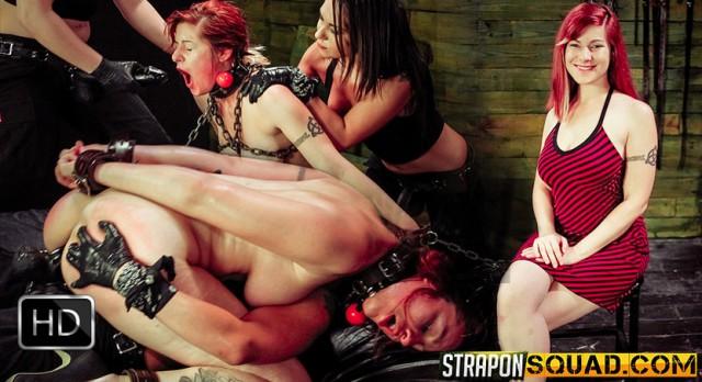 StrapOnSquad [FetishNetwork] – Pain Sub Slut Alessa Snow Endures Lesbian Domination with Kimber Woods & Isa Mendez