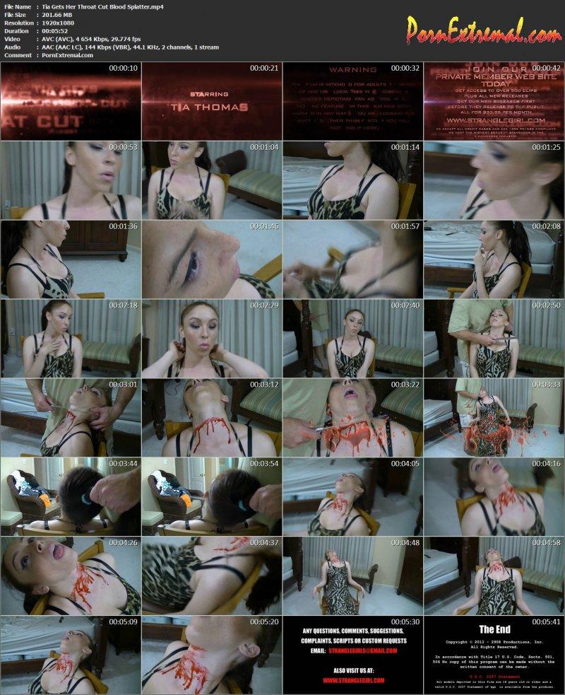 StrangleGirl(z) – Tia Gets Her Throat Cut Blood Splatter
